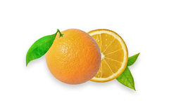 Orange fruit isolated on white background Clipping Path Stock Images