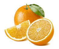 Orange fruit juice composition on white background. Orange juice composition - whole fruit, leaf, half, quarter piece on white background as package design Royalty Free Stock Photo