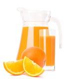 Orange fruit juice in glass jug Royalty Free Stock Photography