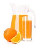 Orange fruit juice in glass jug Royalty Free Stock Photos