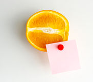 Orange fruit with label. Stock Photo