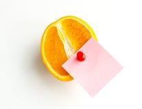 Orange fruit with label. Stock Image