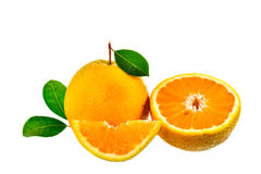 Orange fruit with leaves isolated on white background Stock Images