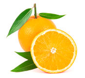 Orange fruit with leaves isolated on white Stock Images
