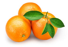 Orange fruit with leaves isolated on white background + clipping Royalty Free Stock Photography