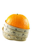 Orange fruit with measurement tape Stock Images