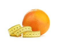 Orange Fruit with measurement  on white Royalty Free Stock Photo