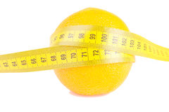 Orange Fruit with measurement on white stock photography