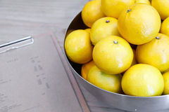 Orange fruit  metal bowl Royalty Free Stock Photography