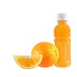 Orange fruit with Orange juice in a bottle isolated on white Stock Image