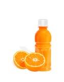 Orange fruit with Orange juice in a bottle isolated on white Stock Photos