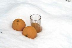 Orange fruit and orange juice refrigerate in the snow-drift at garden Stock Photos