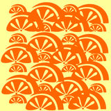 Orange fruit pattern on an yellow background.  Stock Images