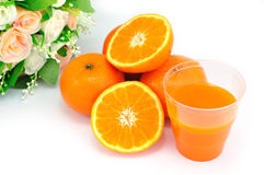 Orange Fruit and Rose Flower Stock Images