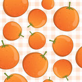 Orange Fruit Seamless Pattern on Tablecloth Stock Images