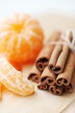 Orange fruit segment and cinnamon sticks Stock Image