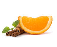 Orange fruit segment, cinnamon sticks and mint. Hot drinks ingre Stock Photography