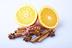 Orange fruit segment, cinnamon sticks and mint isolated on white Stock Photo