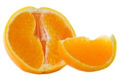 Orange fruit segment and mint leaf Royalty Free Stock Images
