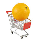 Orange fruit in a shipping cart Stock Photography