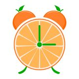 Orange fruit slice clock isolated Stock Photo