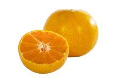 Orange fruit with slice isolated on white background. Royalty Free Stock Photos