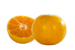 Orange fruit with slice isolated on white background. Stock Images