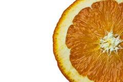 Orange fruit slice macro isolated Royalty Free Stock Photos