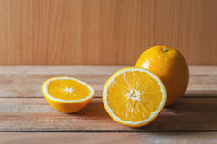 Orange fruit and slice in still life tone Royalty Free Stock Images