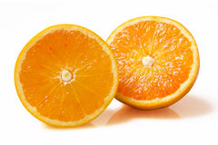 Orange fruit slice on white background Stock Images
