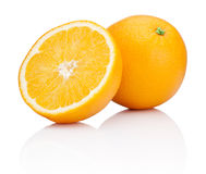 Orange fruit sliced isolated on white background Stock Photos