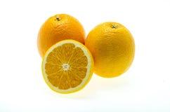 Orange fruit sliced isolated on white background Stock Images