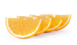 Orange fruit slices isolated on white background. Royalty Free Stock Image