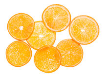 Orange fruit. Slices on white. Background Royalty Free Stock Photos