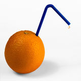 Orange fruit with straw and drop Royalty Free Stock Photography