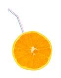 Orange fruit and straw Stock Photography