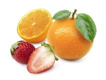 Orange fruit and Strawberry isolated on white background. For design In the media Advertising Royalty Free Stock Photos