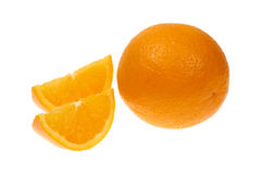 Orange fruit and two segments or cantles isolated on white background cutout Royalty Free Stock Images