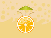 Orange fruit with umbrella Stock Images
