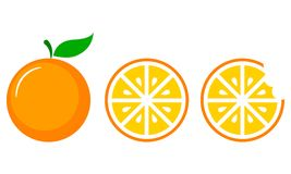 Orange Fruit Vector Set in Three Steps. Set Collection royalty free illustration