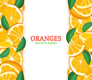 Orange fruit vertical seamless border. Vector illustration card top and bottom Fresh tropical oranges whole and slice. For design tea, ice cream, natural Royalty Free Stock Images