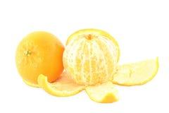 Orange fruit whole and peeled  in white background Stock Photo
