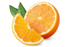 Free Orange Fruit With Green Leaves Isolated On White Background. Clipping Path. Full Depth Of Field Stock Photography - 177726692