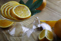 Orange fruit wooden background Stock Photos