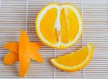 Orange fruit on wooden background. Fresh orange fruit on wooden background Royalty Free Stock Photo