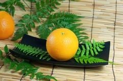 Orange. Fruit on wooden tray Stock Image