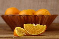 Orange fruits in basket Royalty Free Stock Photos