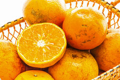 Orange fruits in basket Stock Images