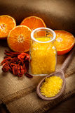 Orange fruits and bath salt Royalty Free Stock Photos
