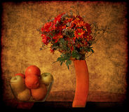 Orange Fruits And Flowers. On textured canvas background Royalty Free Stock Photography